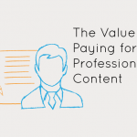Paying for content — blue man in business suit in front of orange paper and pencil