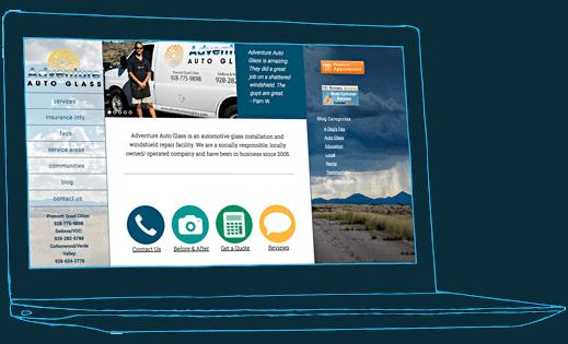 We built a website for an autoglass company, Adventure Autoglass