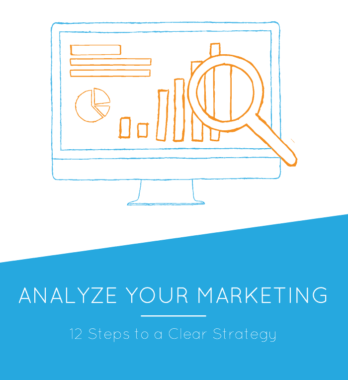 Analyze Your Marketing: 12 Steps to a Clear Marketing Strategy, image of computer with magnifying glass over a bar graph.