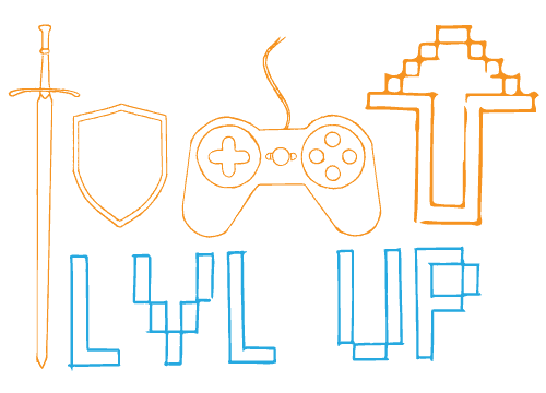 A marketing course for regular folk — level up to awesome. LVL UP in pixels, a sword, a shield, a controller, and an updoot.