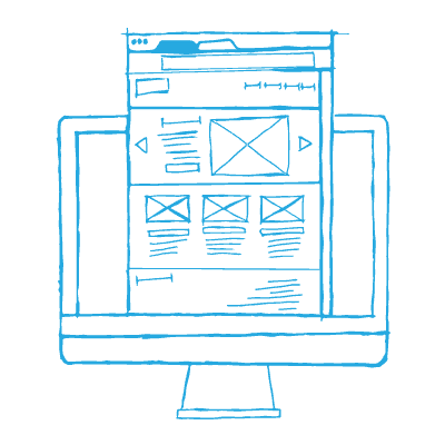 A wireframe design rising out of a mac computer screen — website builders seem like the easy way to get a business website, but they often end in tragedy. We believe the best website builder is NO website builder.