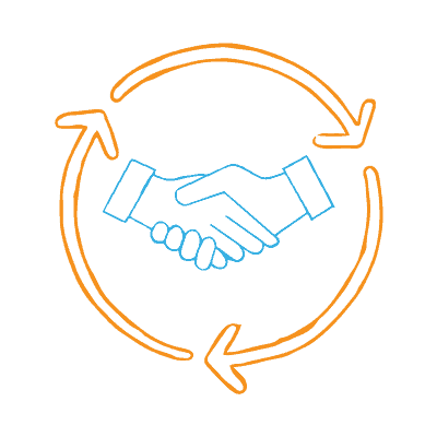 The importance of customer loyalty and customer retention cannot be overstated — two blue hands shaking surrounded by three orange arrows