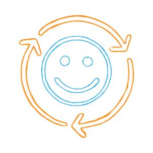 Smiley face inside three circular arrows.