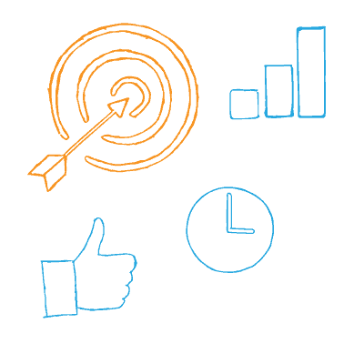 SMART action plan — arrow hitting a target, thumbs up, clock, simplified graph