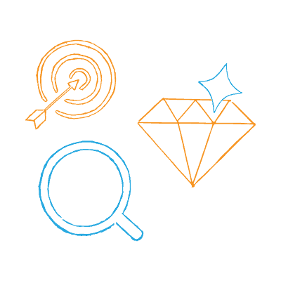 Marketing Problems —Diamond, Target and Arrow, Magnifying Glass