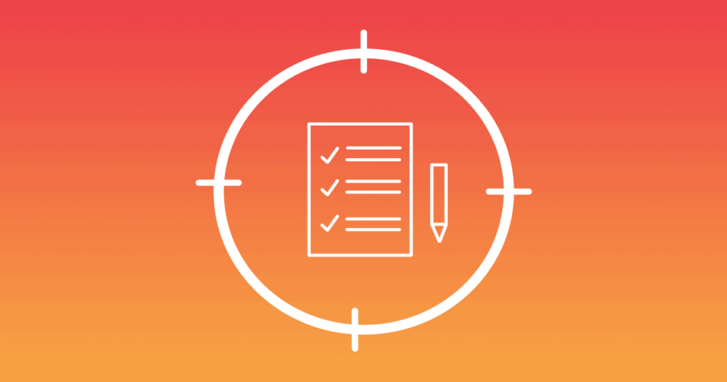 A checklist and pen within a circle are pictured on an orange gradient background. A list of content marketing objectives, when done right, can be more effective than traditional advertising.