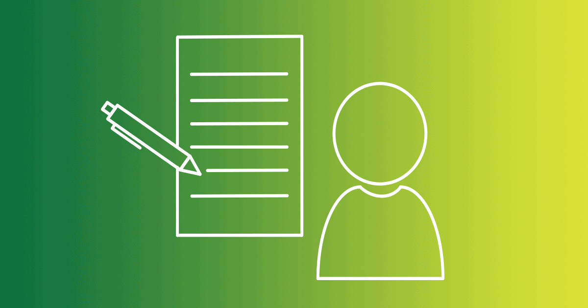 A graphic of a person sits next to one of a sheet of paper with a pen on a green gradient background. The key to writing content for your website is to focus on your customers, which most marketers don't do. Don't make the same mistake, and learn how to write customer-centric content.