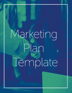 """Two people shake hands under a text box that says, """"marketing plan template."""" The image has a blue gradient. The marketing plan template can help you achieve all your marketing goals, with information on branding, web design, and content creation."""