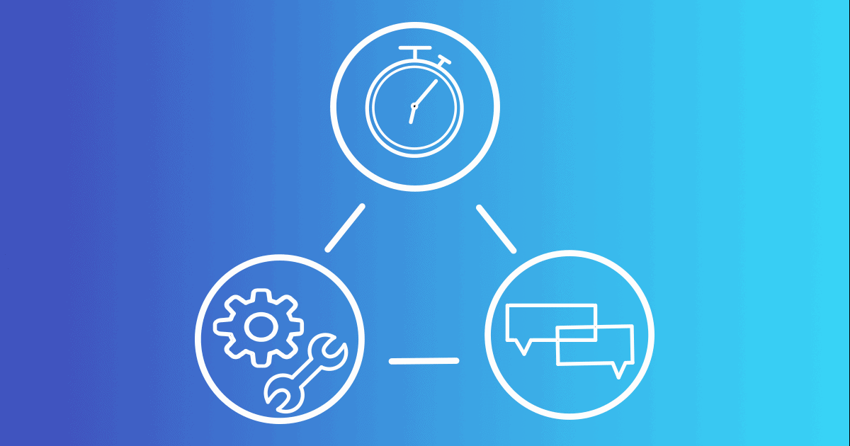Three circles contain graphics, a chronograph, a message box, and a gear and wrench, pictured on a blue background. Managing your marketing projects can be a huge effort, but good management tools can simplify the process.