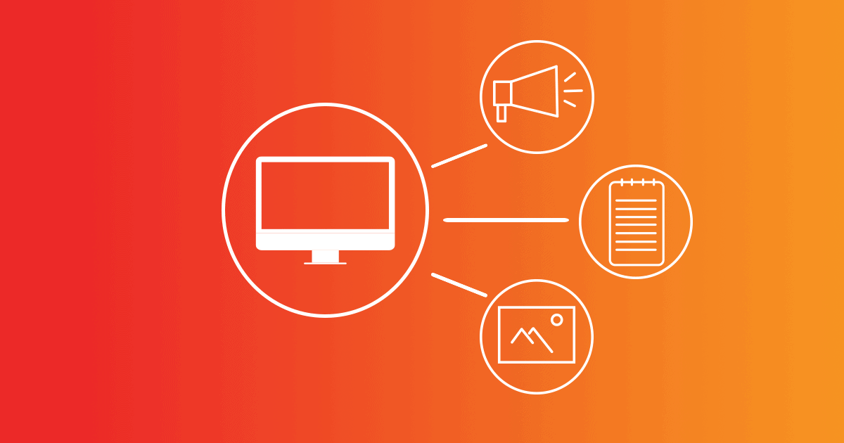 Four linked circles containing a monitor, a megaphone, a picture, and a notebook, are drawn in white on an orange background. These are forms of content, which is information that holds value for customers and can help make sales.