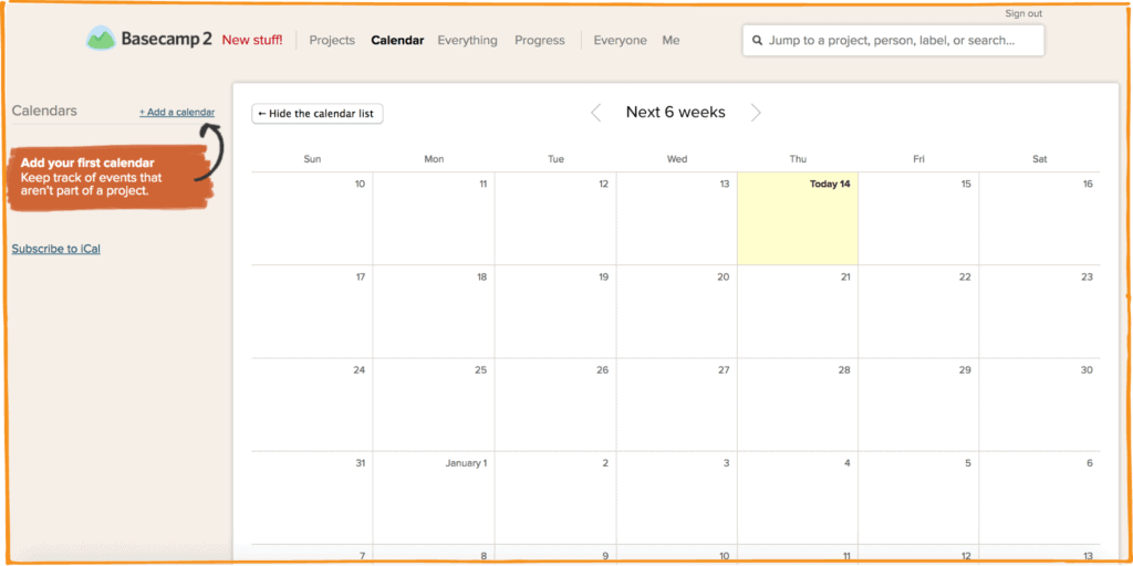 The calendar view for Basecamp helps track deadlines
