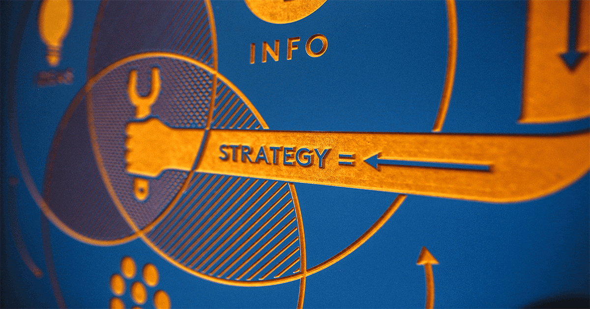 "A blue Venn diagram with gold letters say ""info"" and ""strategy."" Data is the key to marketing efficiency, and focusing on it can lead to greater sales and increased marketing effectiveness."