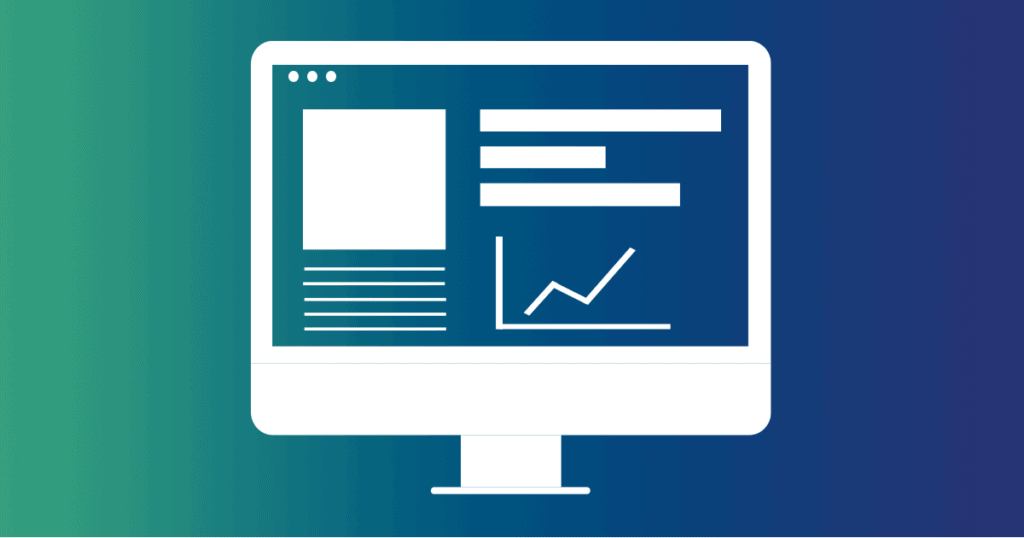A computer on a blue gradient background shows a website layout on the screen. A simple website that loads fast, and looks beautiful, is a great way to attract business and get people to stay on your site longer.