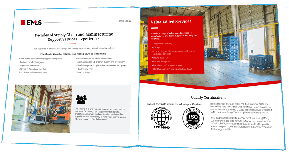 We helped Elite Manufacturing of Denton Texas with a complete rebranding strategy, including printed booklets, as shown here, and a new website.