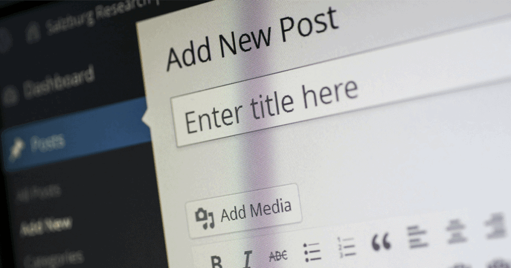 Close-up of the classic WordPress editor. Many SEO best practices center around the use of WordPress. Learn more.