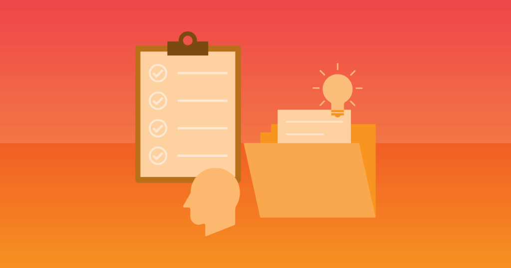 Educating your customers is the key to customer success. A customer Individual Education Plan can help. Icons of a folder with paper in it, a clipboard, and a person's head.