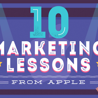 "10 Marketing Lessons From Apple — a stylized flat design image of steve jobs next to the text ""10 marketing lessons from apple"""