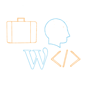 Brand Yourself —Outline of a person's head, brackets for coding, WordPress logo, briefcase