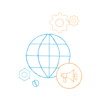 DIY Internet marketing —globe with gears and a megaphone around it.
