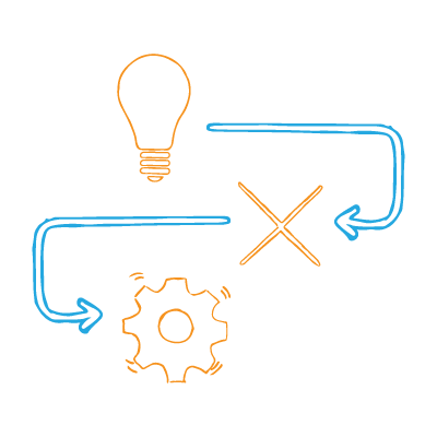 Marketing problems — a lightbulb with an arrow to an X and then another arrow to a gear