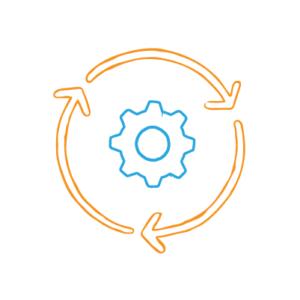 Measuring Marketing Efficiency —An orange circle of three arrows around a gear
