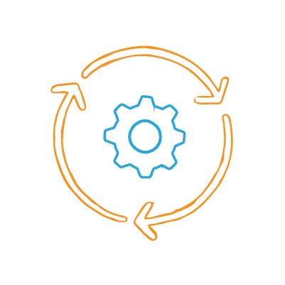 Measuring Marketing Efficiency — An orange circle of three arrows around a gear