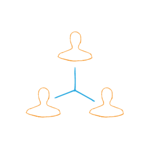 Three orange silhouettes connected by blue lines