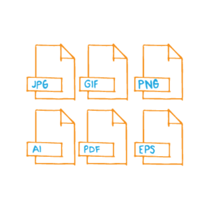 When it comes to the age-old battle, vector vs raster, the truth is that neither wins —the type of file you choose depends on your needs — six orange desktop file icons with different file type names arranged in two rows of three