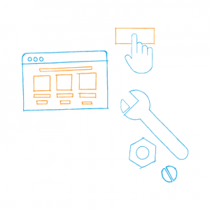industrial website design wrench and webpage